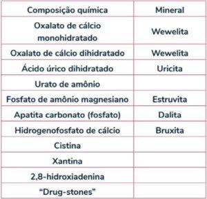 Classificação dos cálculos conforme sua composição.  Fonte: SBU